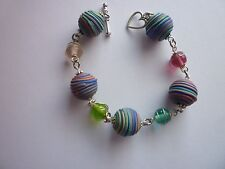 Planets Heart Toggle Clasp *Silver Tone Polymer Clay Acrylic