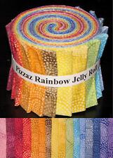 "Pizzaz Rainbow Multi Color Jelly Roll 16 Cotton Fabric Strips 2.5"" Wide X 44"""