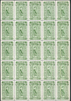 Canada #BCL23 (x 22), BCL23d (x 3) B.C. Law Stamp complete pane of 25 CV$138.75