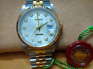 Rolex 16233 Datejust Jubilee Two-tone Factory Diamonds Authentic - New with Tags