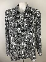 Chico's Womens Sz 2 Black White Animal Print Button Front Blouse Long Sleeve