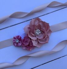 Dusty Pink/White Flower Girl Sash Belt ,Floral Sash ,Bridesmaid Sash,Bridal Sash