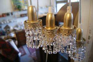 3 Kristall Leuchte, Hängelampe,  Deckenlampe,  Glas Lampe,