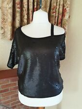 BLACK SEQUIN  ONE SHOULDER STRAP KNITTED  TOP  NEXT SIZE 12   PARTY £35
