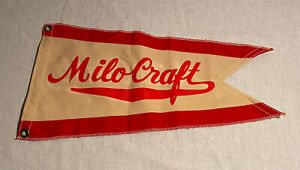 Vintage Milo Craft Taylor Made Maritime Pennant Boat Flag - Red & White Nautical