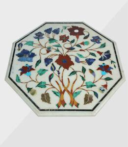 "30"" Coffee Marble Table Top Handmade Semi precious stones floral art Home Decor"