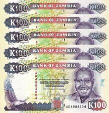 ZAMBIA 100 KWACHA 1991 UNC 20 PCS CONSECUTIVE LOT P-34