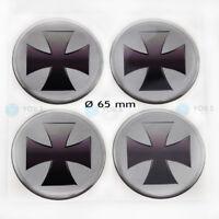 4 x Silikon Nabenkappen Felgen Aufkleber Sticker Eisernes Kreuz Emblem - 65 mm