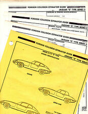 JAGUAR E TYPE SERIES II & 2 + 2 BODY PARTS LIST CRASH DATA SHEETS MFRE