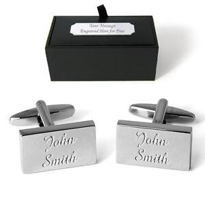 Your Name Cufflinks Personalised Engraved Gift Box Birthday Wedding Xmas Present