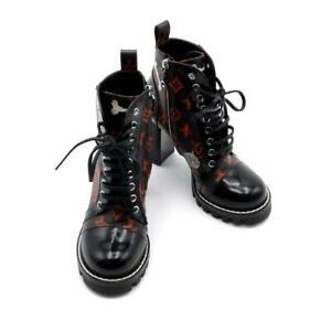 LOUIS VUITTON Star Trail Line Ankle Boots 1A52FM Monogram Black Orange 37 1/2