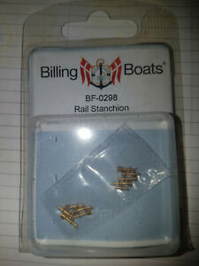 BILLING BOATS - BF-0298 Rail Stanchion (10) 7mm 1 Hole BRAND NEW Brass