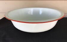 Vintage 13� Round White Enamel Pan With Red Trim