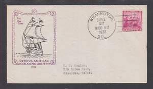 US Planty 836-28 FDC. 1938 3c Landing of Swedes and Finns, Jesse Holland cachet