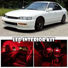 For 96-97 Honda Accord EX LX DX Interior Xenon LED SMD Light Kit Ultra RED 12pcs