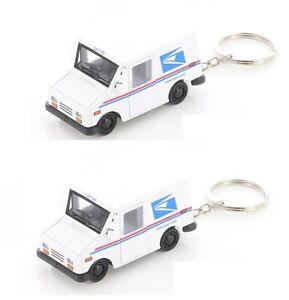 "2PCS USPS LLV United States Postal Service Mail Diecast Truck 1:72 KEYCHAIN 2.5"""