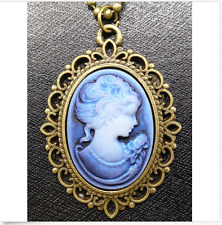 Fashion blue Retro Beauty Head Goddess Cameo Charm Bronze Alloy Lady Necklace