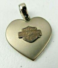 Vintage Harley Davidson Motorcycle Titanium 925 Heart Pendant Charm Necklace