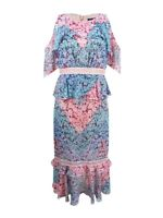 JAX Women's Printed Cold-Shoulder Midi Dress