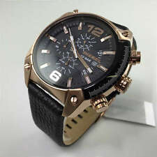 Men's Diesel Overflow Chronograph Leather Strap Watch DZ4297