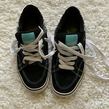 WOMENS BLACK WHITE VANS 8.5 CHECK SKATE SNEAKERS SHOES