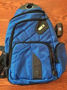 FUL Charging Charger Backpack  Black Blue Laptop Travel Bag Pack Shoulder Sling