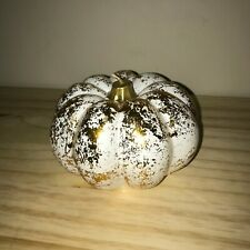 Gold Foil and White Decorative Pumpkin Candle