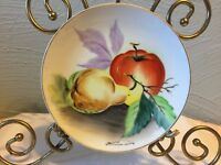 """Hand Painted Porcelain Ceramic 6"""" Plate Fruit Pear Apple Signed Hitomi Japan"""