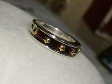 Ross Simons 14k Yellow Gold star & Sterling silver red Garnet band Ring