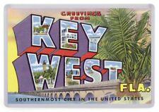 Greetings From Key West Florida Fridge Magnet. Retro Travel Postcard. USA