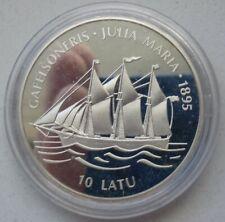 Latvia 10 Latu 1997 KM# 28 Silver Plata Silber Argent Capsule Lativa Latvijas