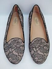 VALENTINO black nude shimmer lace smoking slippers ballet flats 38.5 WORN ONCE