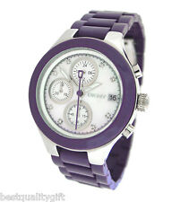 NEW DKNY PURPLE RESIN,CHRONOGRAPH,MOP DIAL WATCH NY8066