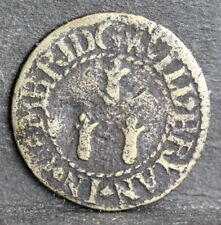 More details for 17th century brass farthing token,bwh, will bryan, confectioner, cambridge, 1652