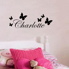 Charlotte Butterfly Decor Name Vinyl Wall Sticker Kids Bedroom Art Decal smm