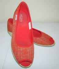 Keen Cortona Wedge Heels Size 8.5 Womens Orange Woven Peep Toe Shoes Pumps
