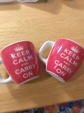 Keep calm & carry on novelty cup shaped fridge magnets x 2