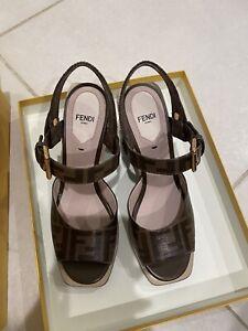 NIB Fendi FF Logo Motif Wedge Sandal Espadrille Heels 37.5 Monogram