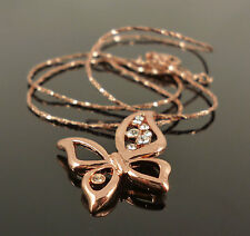 Copper Crystal 18k Gold Plated Butterfly Pendant Fashion Jewellery Fine Necklace