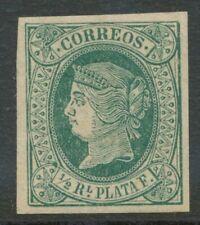 SPANISCH-WESTINDIEN 1864 Königin Isabella II ½ R. grün auf weiß ungebr. ABART