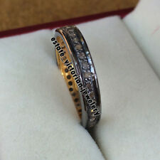 Silver Vintage Style Eternity Ring Jewelry 0.94Cts Genuine Pave Rose Cut Diamond
