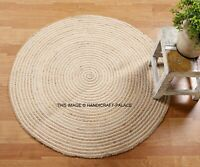 Vintage Jute Reversible 3x3 ft Rug Round Rugs Bohemian Area Dhurrie Boho Mat Rug