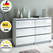 Kommode Weiß Hochglanz 6 Schubladen Sideboard 120 cm Klamottenschrank Modern