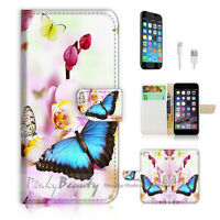 ( For iPhone 7 ) Wallet Case Cover P1769 Butterfly