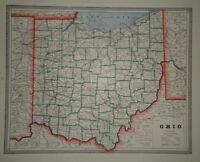 Vintage 1884 OHIO MAP ~ Old Antique Original Atlas Map 80918
