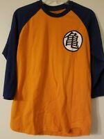 Mens Anime DragonBall Z Cotton Blend 3/4 Sleeve Baseball Tee Shirt sz M