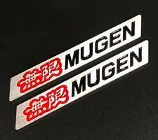 3D MUGEN Car Trunk Spoiler Lip Emblem Badge Sticker Decal Alumnium Red/Black x2