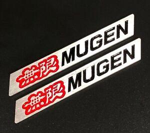 3D MUGEN Car Trunk Spoiler Lip Emblem Badge Sticker Decal Alumnium Red/Black x2