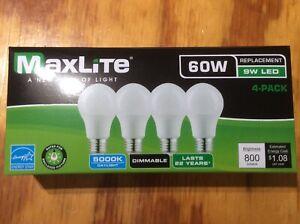 4 pack New 60 Watt Equivalent  A19 LED Light Bulb Dimmable Daylight 5000k!!!!