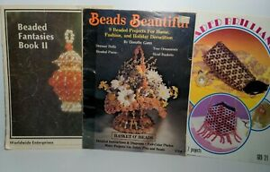 Lot of 3 Booklets Beading Beads Fantasies Craft Making Patterns Projects